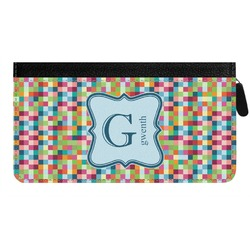 Retro Pixel Squares Genuine Leather Ladies Zippered Wallet (Personalized)