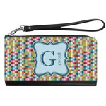 Retro Pixel Squares Genuine Leather Smartphone Wrist Wallet (Personalized)