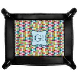 Retro Pixel Squares Genuine Leather Valet Tray (Personalized)