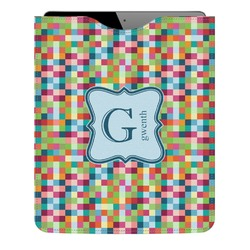 Retro Pixel Squares Genuine Leather iPad Sleeve (Personalized)