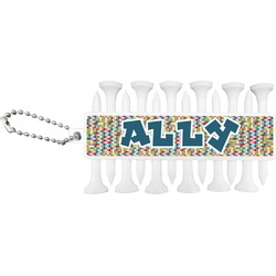 Retro Pixel Squares Golf Tees & Ball Markers Set (Personalized)