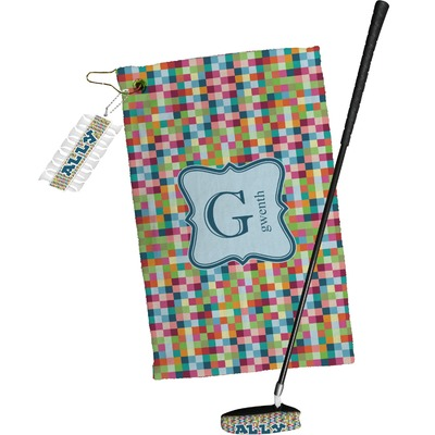 Retro Pixel Squares Golf Towel Gift Set (Personalized)