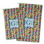 Retro Pixel Squares Golf Towel - Full Print w/ Name and Initial