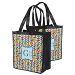 Retro Pixel Squares Grocery Bag (Personalized)