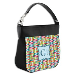 Retro Pixel Squares Hobo Purse w/ Genuine Leather Trim w/ Name and Initial