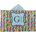 Retro Pixel Squares Kids Hooded Towel (Personalized)