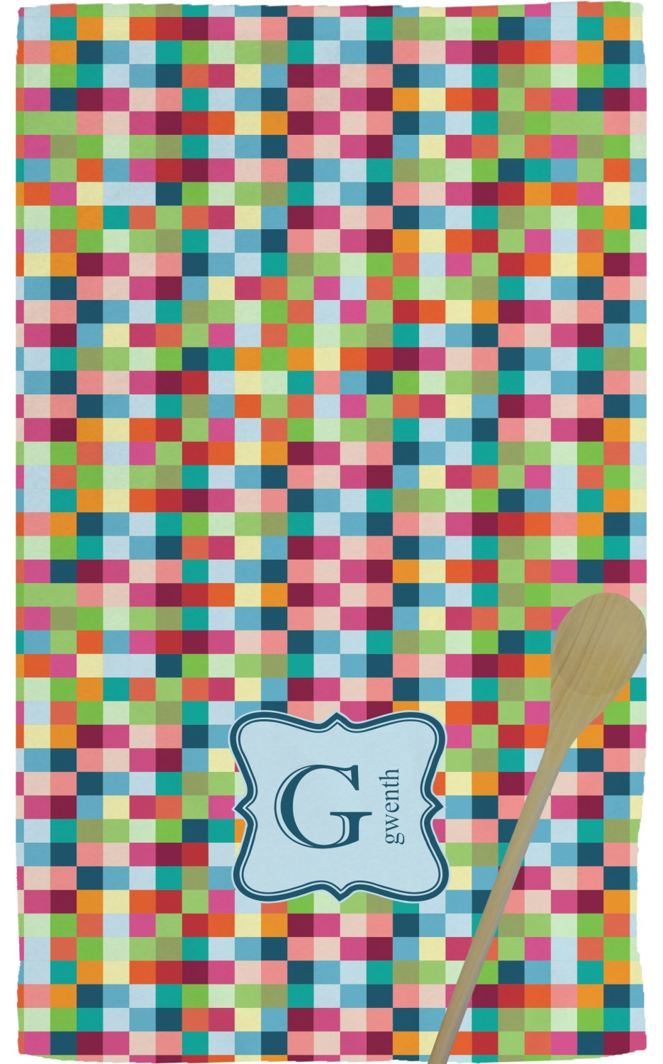 Retro Pixel Squares Kitchen Towel - Full Print (Personalized)