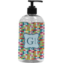 Retro Pixel Squares Plastic Soap / Lotion Dispenser (Personalized)