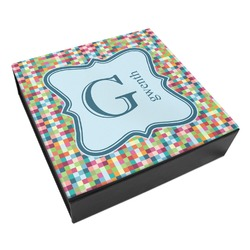 Retro Pixel Squares Leatherette Keepsake Box - 3 Sizes (Personalized)
