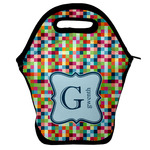 Retro Pixel Squares Lunch Bag w/ Name and Initial
