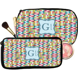 Retro Pixel Squares Makeup / Cosmetic Bag (Personalized)