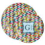 Retro Pixel Squares Melamine Plate (Personalized)