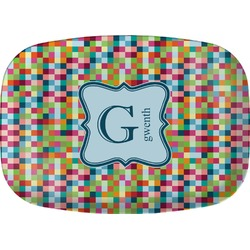 Retro Pixel Squares Melamine Platter (Personalized)