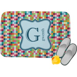 Retro Pixel Squares Memory Foam Bath Mat (Personalized)