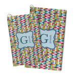 Retro Pixel Squares Microfiber Golf Towel (Personalized)