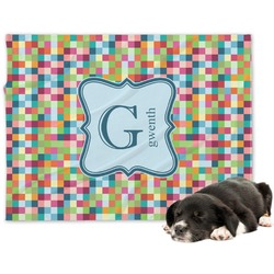 Retro Pixel Squares Minky Dog Blanket - Regular (Personalized)