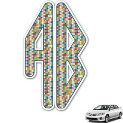 Retro Pixel Squares Monogram Car Decal (Personalized)
