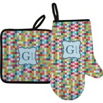 Retro Pixel Squares Oven Mitt & Pot Holder (Personalized)