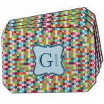 Retro Pixel Squares Dining Table Mat - Octagon w/ Name and Initial