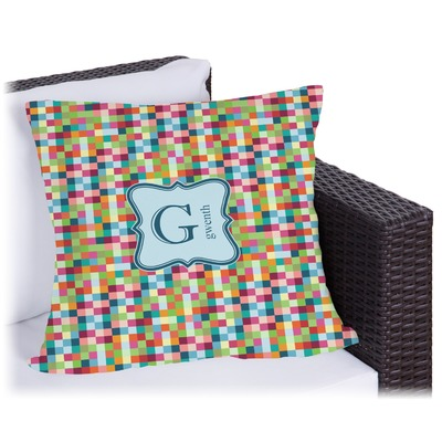 Retro Pixel Squares Outdoor Pillow (Personalized)