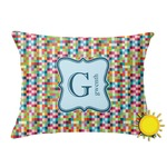 Retro Pixel Squares Outdoor Throw Pillow (Rectangular) (Personalized)