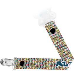 Retro Pixel Squares Pacifier Clips (Personalized)