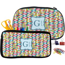 Retro Pixel Squares Pencil / School Supplies Bag (Personalized)