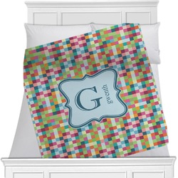 "Retro Pixel Squares Fleece Blanket - Twin / Full - 80""x60"" - Single Sided (Personalized)"