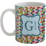 Retro Pixel Squares Coffee Mug (Personalized)