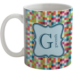 Retro Pixel Squares Coffee Mug (Personalized)