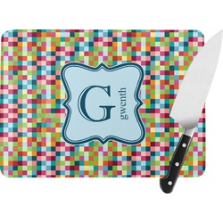 Retro Pixel Squares Rectangular Glass Cutting Board (Personalized)