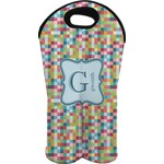 Retro Pixel Squares Wine Tote Bag (2 Bottles) (Personalized)