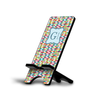 Retro Pixel Squares Cell Phone Stands (Personalized)