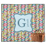 Retro Pixel Squares Outdoor Picnic Blanket (Personalized)