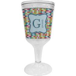 Retro Pixel Squares Wine Tumbler - 11 oz Plastic (Personalized)