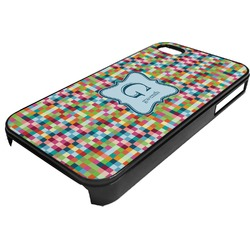 Retro Pixel Squares Plastic 4/4S iPhone Case (Personalized)