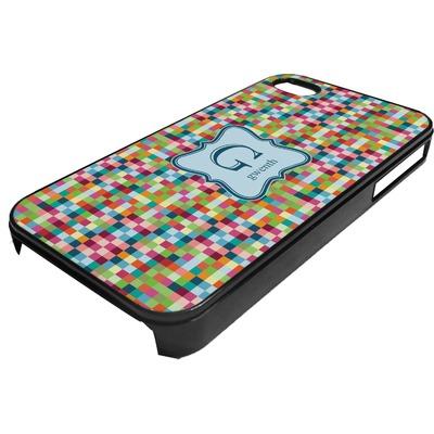 Retro Pixel Squares Plastic 4/4S iPhone Case (Personalized)