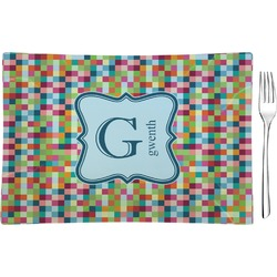 Retro Pixel Squares Glass Rectangular Appetizer / Dessert Plate - Single or Set (Personalized)