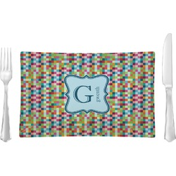 Retro Pixel Squares Rectangular Glass Lunch / Dinner Plate - Single or Set (Personalized)