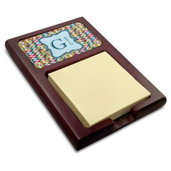 Retro Pixel Squares Red Mahogany Sticky Note Holder (Personalized)