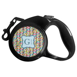 Retro Pixel Squares Retractable Dog Leash (Personalized)