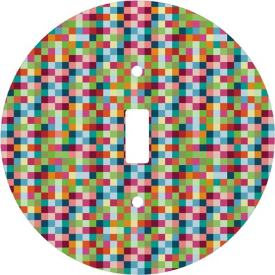 Retro Pixel Squares Round Light Switch Cover (Personalized)