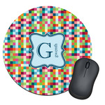 Retro Pixel Squares Round Mouse Pad (Personalized)
