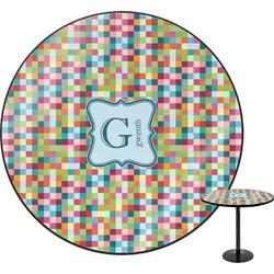 Retro Pixel Squares Round Table (Personalized)