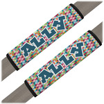 Retro Pixel Squares Seat Belt Covers (Set of 2) (Personalized)