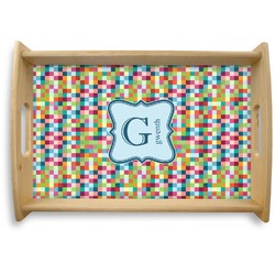 Retro Pixel Squares Natural Wooden Tray (Personalized)