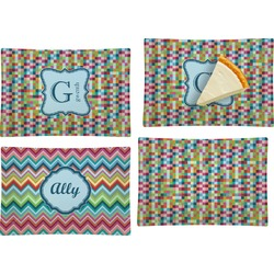 Retro Pixel Squares Set of 4 Glass Rectangular Appetizer / Dessert Plate (Personalized)