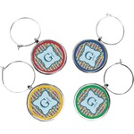 Retro Pixel Squares Wine Charms (Set of 4) (Personalized)