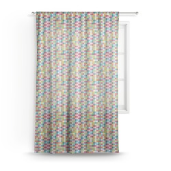 Retro Pixel Squares Sheer Curtains (Personalized)