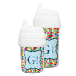Retro Pixel Squares Sippy Cup (Personalized)